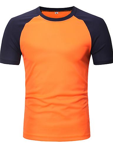 voordelige Herenoverhemden-Heren Patchwork T-shirt Katoen Effen / Kleurenblok Ronde hals Zwart