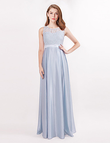85d7ad20378 A-Line Jewel Neck Floor Length Satin Bridesmaid Dress with Pleats by LAN  TING Express