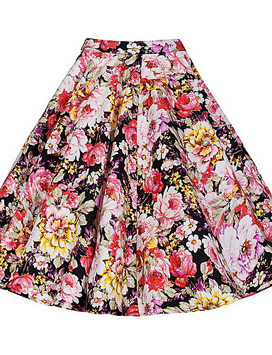 cheap Women's Skirts-Women's A Line Skirts - Solid Colored / Polka Dot / Floral Black Red Rainbow L XL XXL