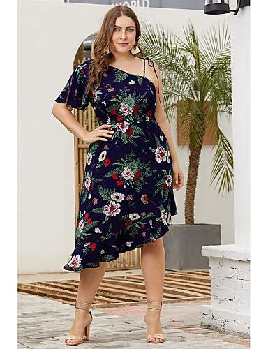 0384ed0d108 Women s Basic Sophisticated Sheath Dress - Floral Ruffle Lace up Navy Blue  XXL XXXL XXXXL