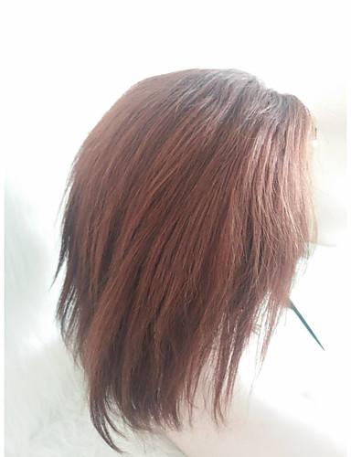 povoljno Perike s ljudskom kosom-Ljudska kosa Full Lace Perika Slobodni dio stil Malezijska kosa Ravan kroj Smeđa Perika 130% Gustoća kose Žene Žene Kratko Others