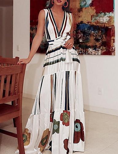 voordelige Maxi-jurken-Dames Slank Wijd uitlopend Overhemd Jurk Bloemen V-hals Maxi