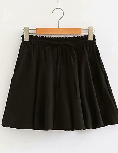 ราคาถูก กางเกงขาสั้น-สำหรับผู้หญิง พื้นฐาน เพรียวบาง กางเกงขาสั้น กางเกง - สีพื้น สีดำ สีกากี XL XXL XXXL