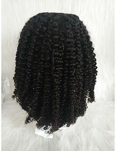 abordables Perruques Naturelles Dentelle-Perruque Cheveux Naturel humain Lace Frontale Cheveux Brésiliens Afro Kinky Noir Partie libre Femme Densité 130% Homme Court Noir Autres Clytie
