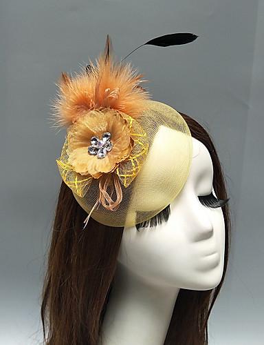 abordables Chapeau & coiffure-Filet Fascinators / Coiffe / Casque avec Plume / Fleur / Ornement 1 Pièce Mariage / Occasion spéciale Casque