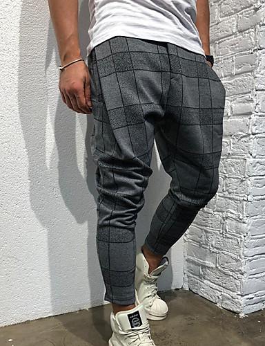 abordables Joggings-Homme Exagéré Taille EU / US Chino / Joggings Pantalon - Imprimé Sportif / Sarouel Gris Vin Vert Véronèse XL XXL XXXL / Elasticité