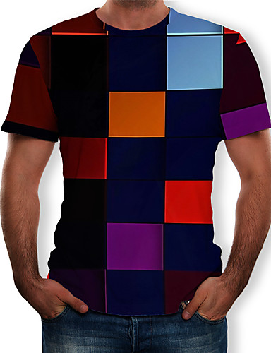 cheap Men's Tees & Tank Tops-Men's T-shirt - Color Block / Check Print Round Neck Rainbow XL
