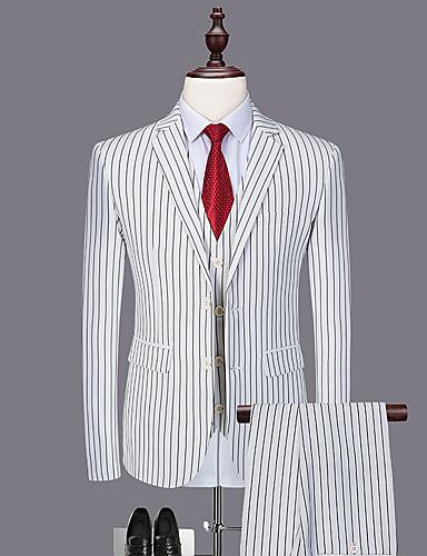 voordelige Heren T-shirts & tanktops-Heren Pakken, Effen Ingesneden revers Polyester Wit / Slank