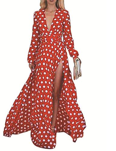 48375da44a91c رخيصةأون فساتين مطبوعة-فستان نسائي متموج طويل للأرض نحيل V رقبة