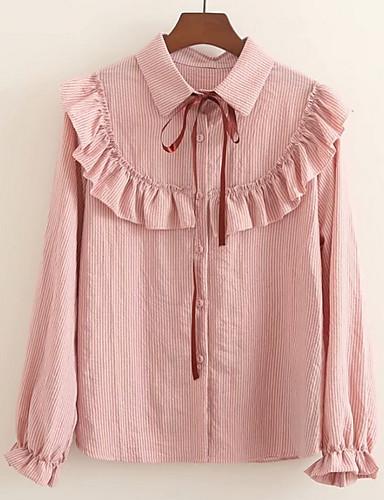 2019 Nuovo Stile Blusa Per Donna Tinta Unita Rosa Taglia Unica #07250816 Crease-Resistenza