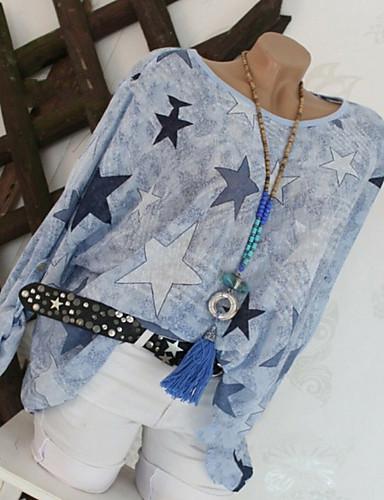 Naisten Painettu Geometrinen Pluskoko - T-paita Uima-allas