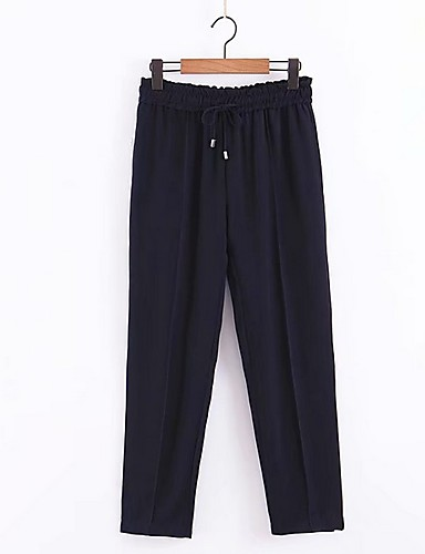 abordables Pantalons Femme-Femme Basique Sarouel Pantalon - Couleur Pleine Bleu Marine S M L