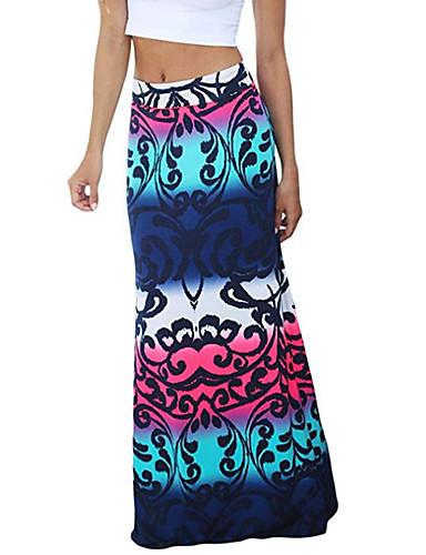 cheap Women's Skirts-Women's Basic Maxi Bodycon Skirts - Geometric Print Fuchsia Rainbow Khaki M L XL / Slim