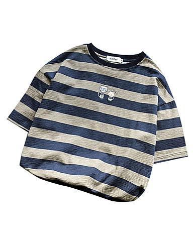 Hombre Retazos Camiseta, Escote Redondo A Rayas Marrón L
