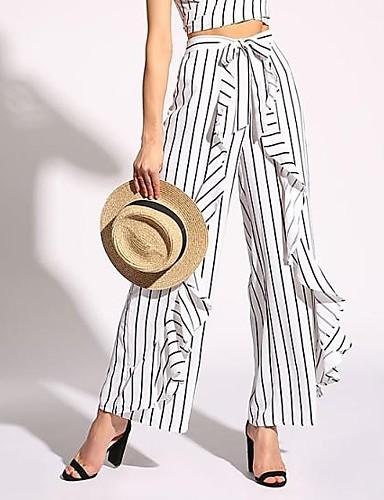 Bene Per Donna Essenziale A Zampa Pantaloni - A Strisce Bianco #07265146