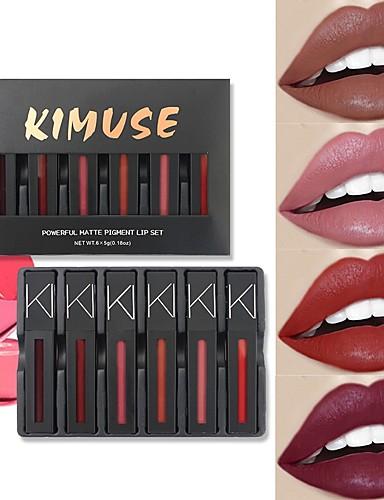 billige Leppe makeup-6 pcs 12 farger Hverdagssminke Vanntett / Multifunksjon Våt / Matt / Mineral Vanntett matte Sminke kosmetisk Pleieutstyr