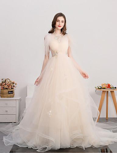 abordables Robes de Mariée 2019-Robe de Soirée Bijoux Traîne Tribunal Tulle Robes de mariée sur mesure avec Appliques par LAN TING Express