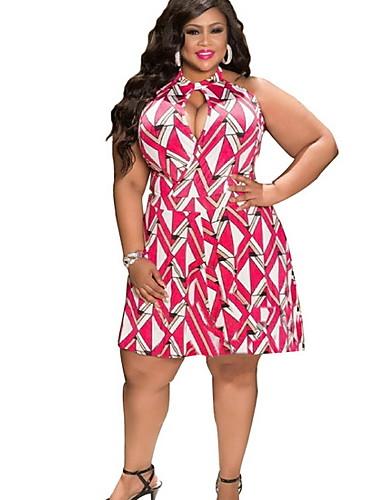 voordelige Grote maten jurken-Dames Elegant A-lijn Jurk - Geometrisch Tot de knie