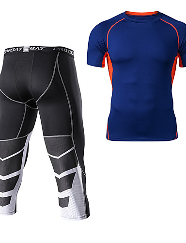 cheap Cycling Clothing-Men's Compression Suit Short Sleeve Compression Base layer Pants T Shirt Thermal / Warm Breathable Quick Dry Comfortable Green Grey Blue+Orange Winter Road Bike Mountain Bike MTB Basketball Stretchy