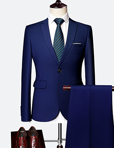 Erkek Suit Şal Yaka Polyester Siyah / Şarap / Açık Mavi US32 / UK32 / EU40 / US34 / UK34 / EU42 / US36 / UK36 / EU44