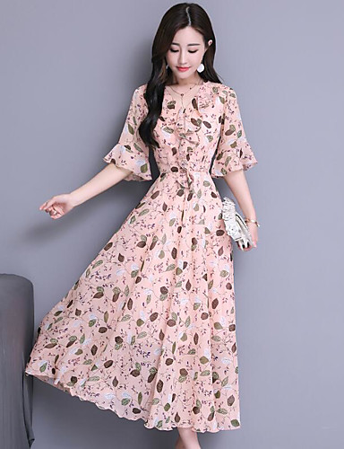 9c5a0d04972 Maxi Dress A-Line V Neck Ankle Length Chiffon Dress with Pattern   Print by LAN  TING Express