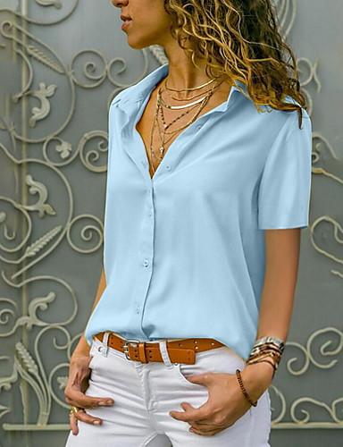 abordables Hauts pour Femme-Chemise Grandes Tailles Femme, Couleur Pleine Col de Chemise Noir