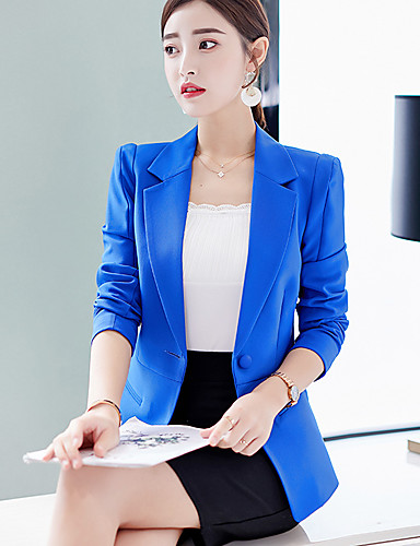 billige Ytterklær til damer-Dame Blazer, Ensfarget Hakkjakkeslag Polyester / Spandex Rosa / Lyseblå / Marineblå L / XL / XXL