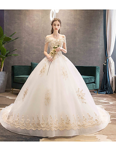 cheap Wedding Dresses-Ball Gown Off Shoulder Chapel Train Lace / Tulle Made-To-Measure Wedding Dresses with Beading / Appliques by LAN TING Express