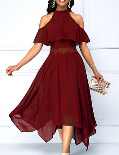 hesapli Maksi Elbiseler-Kadın's Çan Elbise - Solid Boyundan Bağlamalı Asimetrik
