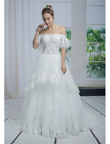 c5781e14c2ed A-Line Off Shoulder Chapel Train Lace   Tulle Made-To-Measure Wedding  Dresses with Beading   Appliques   Lace by ANGELAG