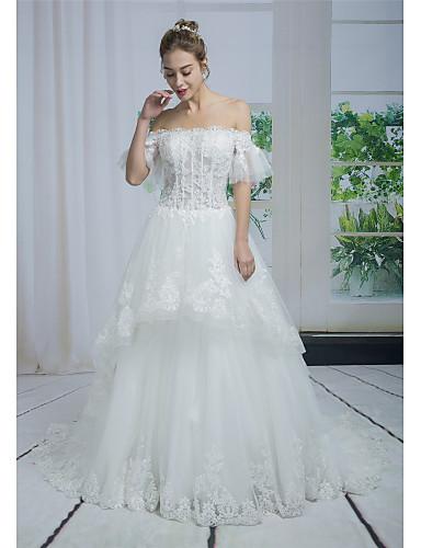 ba115c1b6821 Γραμμή Α Ώμοι Έξω Μακριά ουρά Δαντέλα   Τούλι Φορέματα γάμου φτιαγμένα στο  μέτρο με Χάντρες   Διακοσμητικά Επιράμματα   Δαντέλα με ANGELAG
