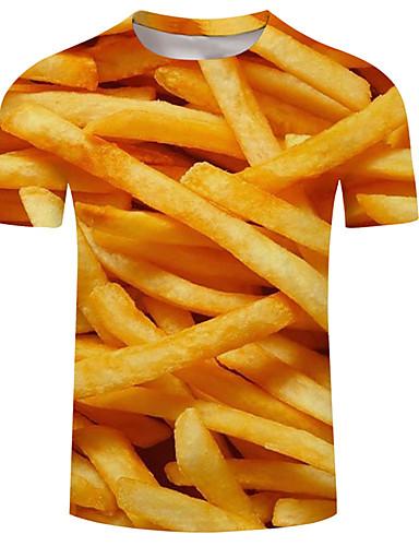 cheap Men's Tees & Tank Tops-Men's T-shirt - 3D / Rainbow / Animal Print Yellow XXXXL