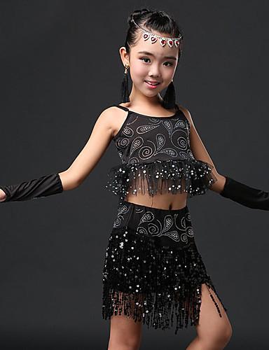7fdc366dbf42 Latin Dance / Kids' Dancewear Outfits Girls' Performance Elastane Glitter Sleeveless  Natural Skirts / Top / Sleeves