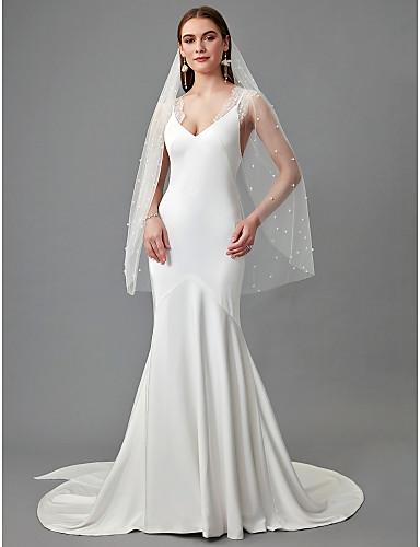 4bc3dbc0f Trompeta   Sirena Escote en Pico Larga Raso   Encaje Vestidos de novia  hechos a medida con Encaje por LAN TING BRIDE®