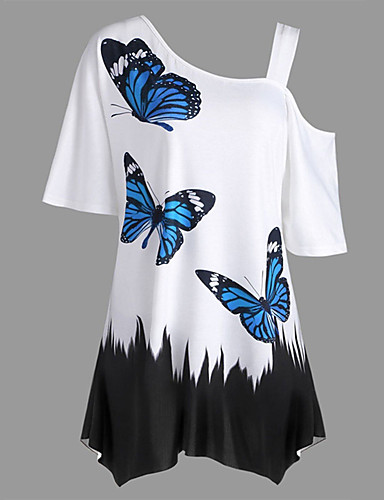 billige Topper til damer-Løstsittende Enskuldret T-skjorte Dame - Dyr, Trykt mønster Rosa XXXL