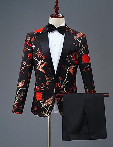 preiswerte Bräutigam & Trauzeugen-Mit Mustern Schlanke Passform Polyester Anzug - Steigendes Revers Einreiher - 1 Knopf
