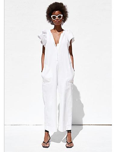 Brillante Per Donna Moda Città Bianco Tuta, Tinta Unita M L Xl #07339360 Elevato Standard Di Qualità E Igiene