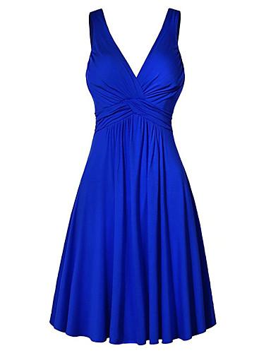 저렴한 미니 드레스-여성용 플러스 사이즈 베이직 시프트 드레스 - 솔리드 하이 웨스트 미니 V 넥