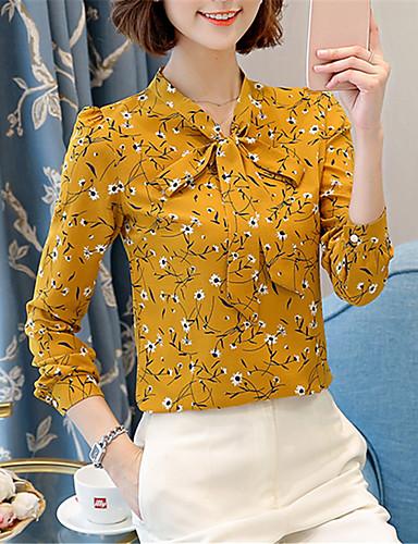 povoljno Majica-Majica Žene - Kinezerije Dnevni Nosite / Vikend Cvjetni print V izrez Slim, Mašna / Print žuta
