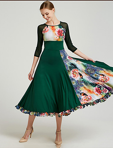 cheap Ballroom Dancewear-Ballroom Dance Dresses Women's Training / Performance Spandex Pattern / Print 3/4 Length Sleeve Dress