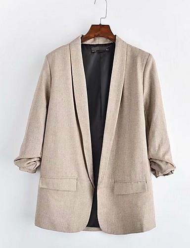 billige Ytterklær til damer-Dame Blazer Rundet jakkeslag Polyester Beige / Grå