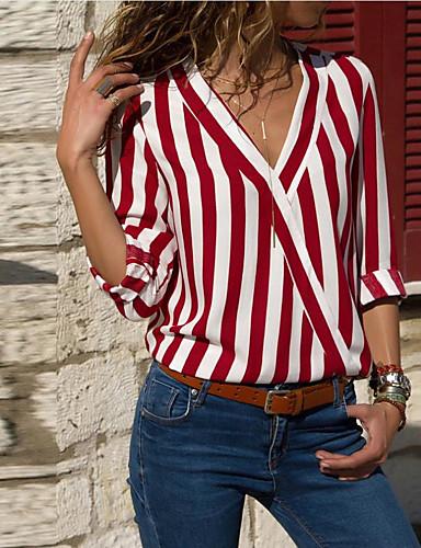 povoljno Majica-Majica Žene - Osnovni Prugasti uzorak V izrez Širok kroj, Kolaž Crn