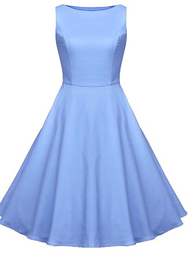 c8d95a41f51a Women's Vintage Basic Swing Dress - Solid Colored L XL XXL