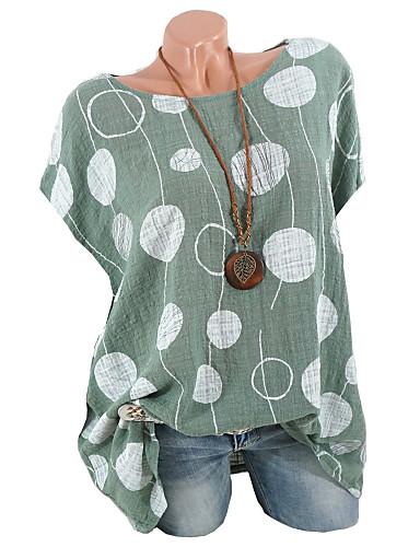 abordables Hauts pour Femme-Tee-shirt Grandes Tailles Femme, Couleur Pleine / Points Polka / Géométrique Basique Rose Claire