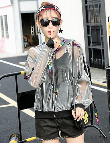 billige Ytterklær til damer-Dame Daglig / Strand Aktiv / Bohem Vår sommer Normal Kimono Jacket, Fargeblokk Med hette Langermet Polyester Lapper Lilla / Gull / Sølv / Løstsittende
