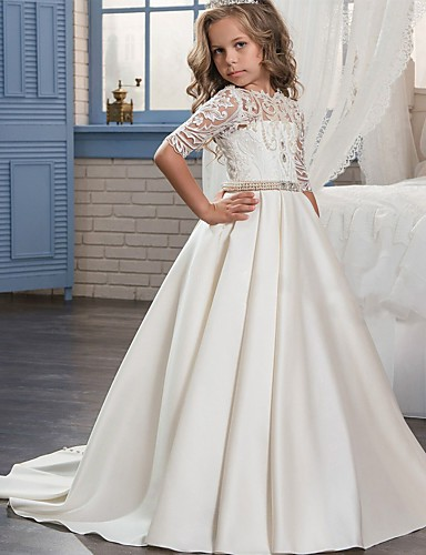 31f4f156c75 Ball Gown Sweep   Brush Train Flower Girl Dress - Matte Satin Half Sleeve  Jewel Neck with Embroidery   Bandage by LAN TING Express