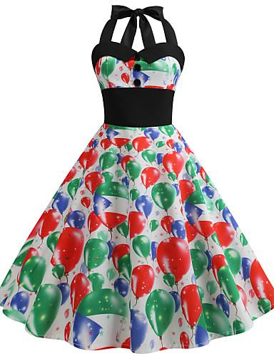 tanie W stylu vintage-Damskie Vintage Swing Sukienka - Geometric Shape, Pofałdowany Midi