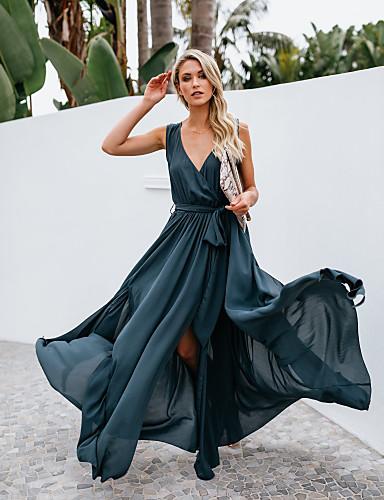 voordelige Maxi-jurken-Dames Schede Jurk - Effen Midi