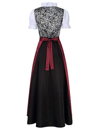 voordelige Maxi-jurken-Oktoberfest Dirndl Trachtenkleider Dames Kleding Bavarian Kostuum Bruin Blozend Roze