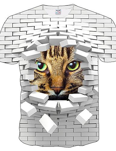 cheap 7/12-Men's Plus Size Slim T-shirt - 3D / Animal Print Round Neck White XXL